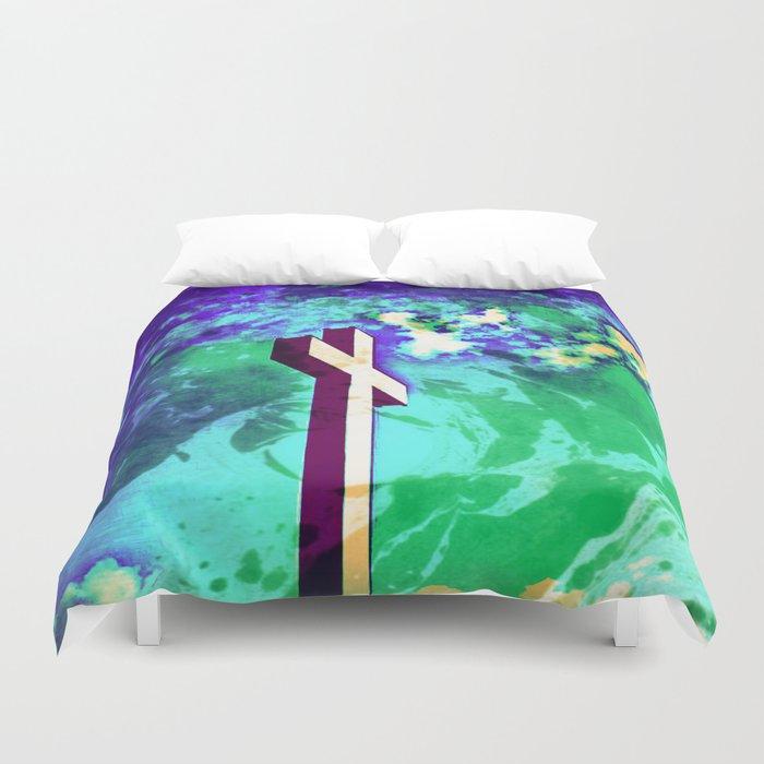 Holy Cross Purple & Green Duvet Cover