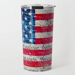 Distressed American Flag and 2nd Amendment On White Bricks Wall Travel Mug