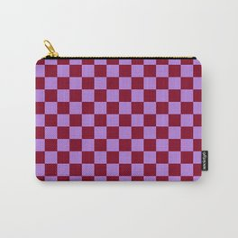 Lavender Violet and Burgundy Red Checkerboard Carry-All Pouch