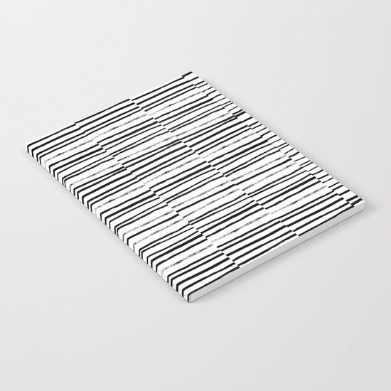 Broken Stripes pattern black and white modern urban brooklyn monochromatic print design ink  Notebook