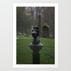 Hitching Post in the Rain Art Print