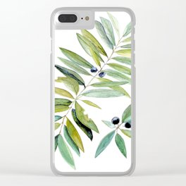 Leaves Berries Sage Green Turquiose Nature Art Floral Watercolor Clear iPhone Case
