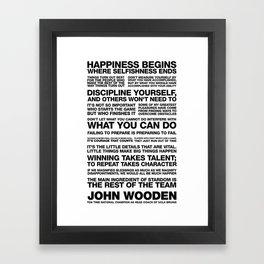 John Wooden Motivational Quotes Framed Art Print