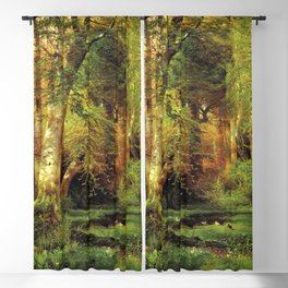 Forest Scene 1870 By Thomas Moran   Dense Woods Watercolor Reproduction Blackout Curtain