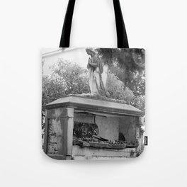Old broken grave with angel Tote Bag