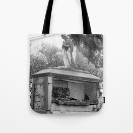 Old broken grave with angel Tote Bag