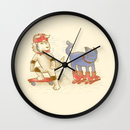 Skateboard dogs don't like roller skate cats Wall Clock