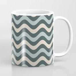 Blue Willow Green & Alpaca Wool Cream Wavy Horizontal Stripes on Night Watch Green Coffee Mug