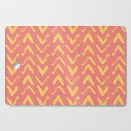 Modern Brush Stroke Chevrons - Coral & Yellow Cutting Board