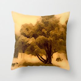 Sepia Juniper Tree by CheyAnne Sexton Throw Pillow