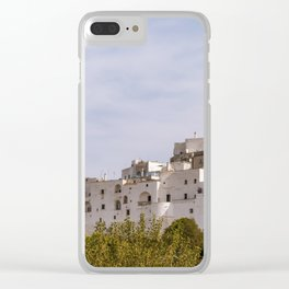 Panoramic view of the medieval white village of Ostuni Clear iPhone Case