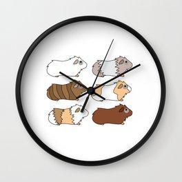 Funny Animal Guinea Pig Tshirt Design Different colors guinea pig Wall Clock