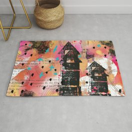 Coral, pink, yellow and black digital abstract whimsical house design Rug