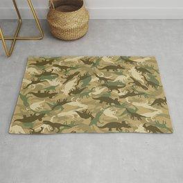 Camouflage Dinosaur Print Olive Green Khaki Tan Rug