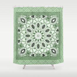 Light green ornament, kaleidoscope, mandala, patchwork, green mandala, light green kaleidoscope, eth Shower Curtain
