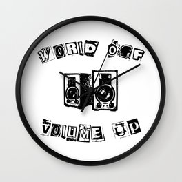 World Off Volume Up Wall Clock
