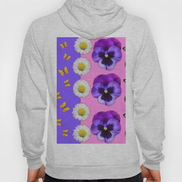 PINK-LILAC & PURPLE PANSY DAISY SPRING FLOWERS Hoody