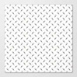 Blackbird Pattern in Black And White Canvas Print