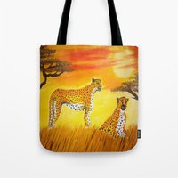 tigers Tote Bags featuring Tigers Sun by ArtSchool