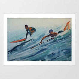 African American Surfers, Honolulu, Hawaii landscape painting by Fred Soldwedel Art Print