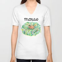 theatre V-neck T-shirts featuring Theatre Mouse by Rebecca Rogers