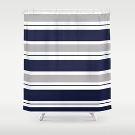 Navy Blue and Grey Stripe Shower Curtain