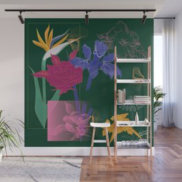 Dark Fall Flower Pattern for Home Goods Emerald Green Magenta Wall Mural