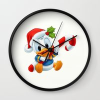 donald duck Wall Clocks featuring Christmas baby Donald Duck by Yuliya L