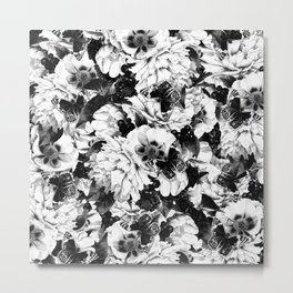 night and day flowers butterflies pattern black white Metal Print