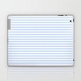 Mattress Ticking Narrow Horizontal Stripe in Pale Blue and White Laptop & iPad Skin