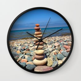 Lake Superior Rock Stacking Wall Clock