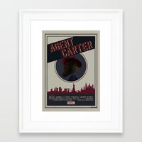 agent carter Framed Art Prints featuring Agent Carter by Adele Hentz