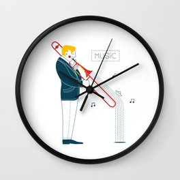Trombonist Wall Clock