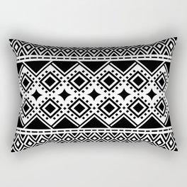 Aztecan Drape - Black/White Rectangular Pillow
