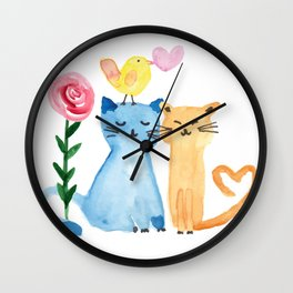 Water painting - cats, bird, heart and rose Wall Clock