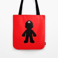 mario Tote Bags featuring Mario by Jessica Wray
