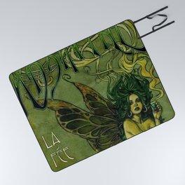 Vintage Parisian Green Fairy Absinthe Alcoholic Aperitif Advertisement Poster Picnic Blanket