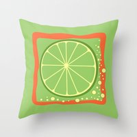 lime green Throw Pillows featuring LIME by Tanya Pligina