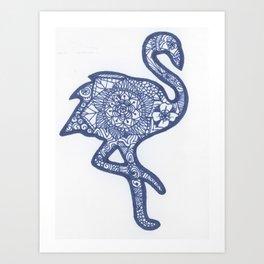 Flamingo Zentangle Art Print