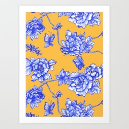 Chinoiserie Floral Golden Yellow Art Print