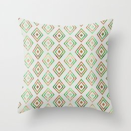 Abstract geometrical brown lime green ethno diamonds pattern Throw Pillow
