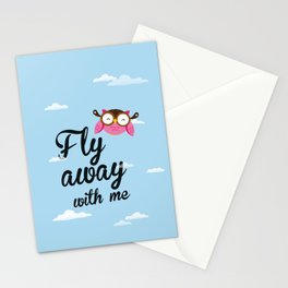 Fly away with me Poster (owl).  Printable love quote. Stationery Cards