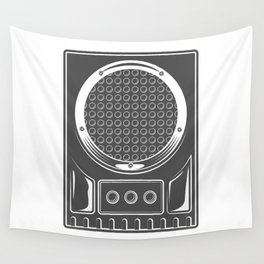 Vintage music concert audio loudspeaker in monochrome style illustration Wall Tapestry