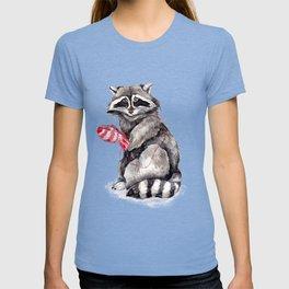 Pensive Raccoon in Red Mittens. Winter Season. T-shirt