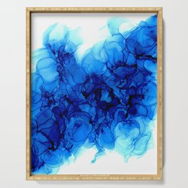 Blue Hydrangeas - Flowing Abstract Painting Serving Tray