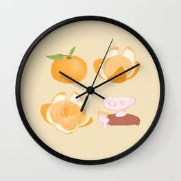Cute tangerine cartoon artwork Wall Clock