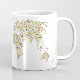 World Map Floral Watercolor Coffee Mug