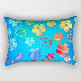 Tie Dye Honu And Hibiscus Rectangular Pillow