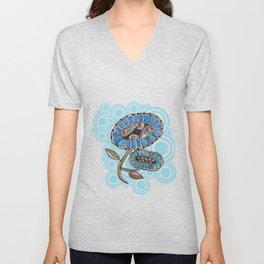 Madhubani - Blue Fish Flower2 Unisex V-Neck