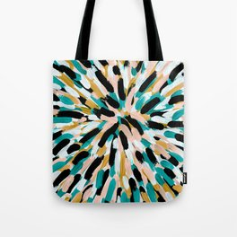 Teal, Pink, and Gold Paint Burst Tote Bag